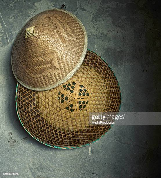 chinese hats - asian style conical hat stock pictures, royalty-free photos & images