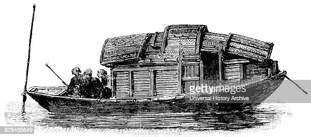 Chinese Houseboat 'Classical Portfolio of Primitive Carriers' by Marshall M Kirman World Railway Publ Co Illustration 1895