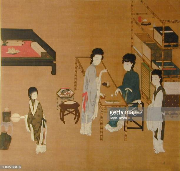 Interior Scene Unidentified artist Chinese Late 18th or 19th century Chinese black ink and heavily applied pigments on silk Two women drink tea at a...