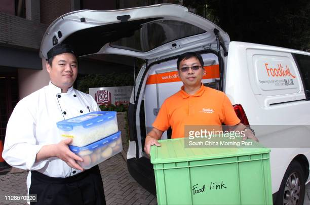 Chinese International School head chef Anthony Wu Waipong and Foodlink staff Tommy Leung Chingtong pose for a photograph in front of the Foodlink Van...