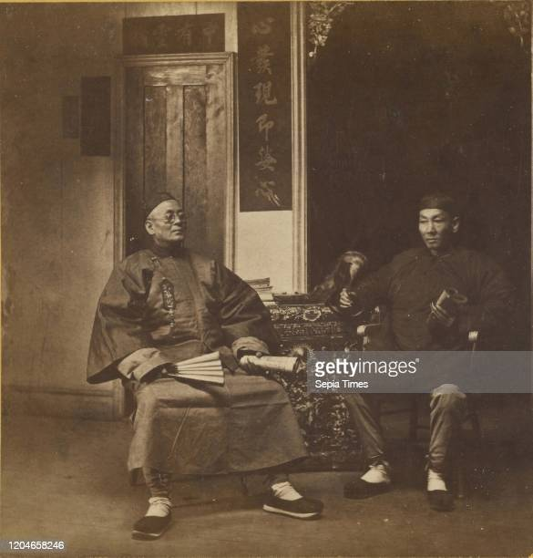 Chinese Joss House Priests discussing Theology Eadweard J Muybridge about 1867 Albumen silver print