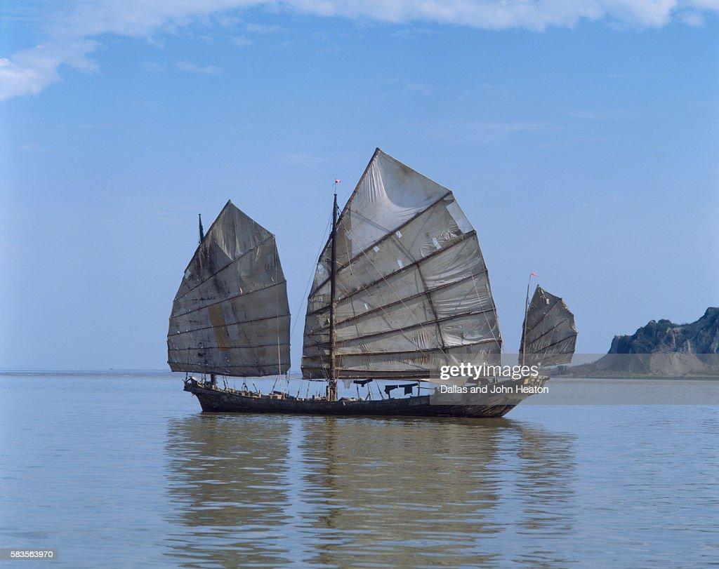 Chinese Junk, South China Sea, China : Stock Photo