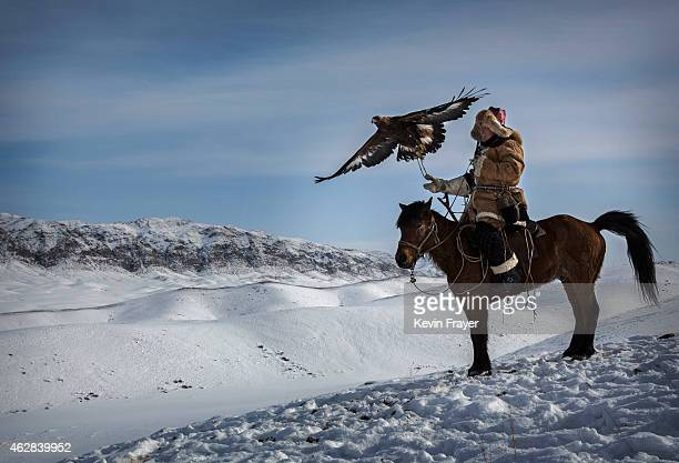 Chinese Kazakh eagle hunter releases his eagle during a local competition on January 31 2015 in the mountains of Qinghe County Xinjiang northwestern...