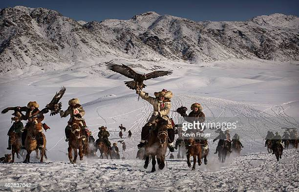 Chinese Kazakh eagle hunters ride with their eagles during a local competition on January 30 2015 in the mountains of Qinghe County Xinjiang...