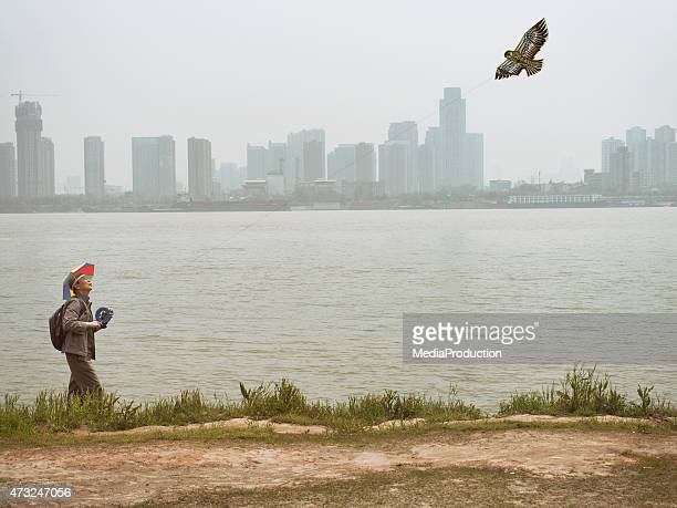 chinese kite flyer - wuhan stock photos and pictures