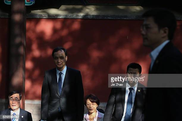 Chinese Kuomintang Chairman Eric Chu pays a visit to the Sun Yat-sen Memorial Hall in Xiangshan, or Fragrant Hills, in Beijing, capital of China, May...