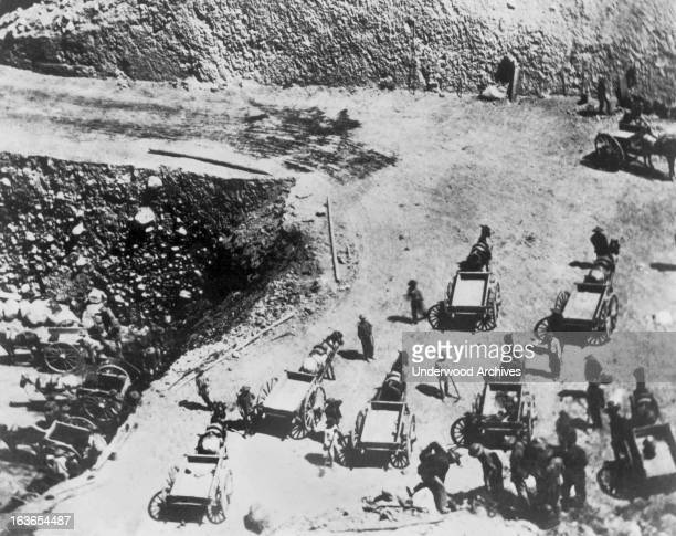 Chinese laborers building a grade for the Central Pacific Railroad at Prospect Hill cut in the Sierras California circa 1867