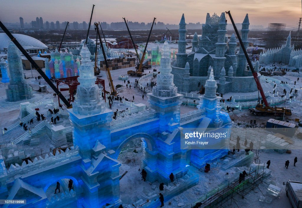 CHN: Workers In China Prepare For World's Largest Ice Festival