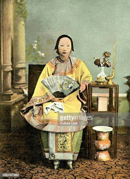 Chinese lady with bound feet Early 20th century China Hong Kong under British administration