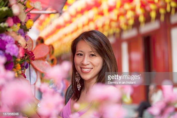 Chinese lady with cherry blossom, lanterns