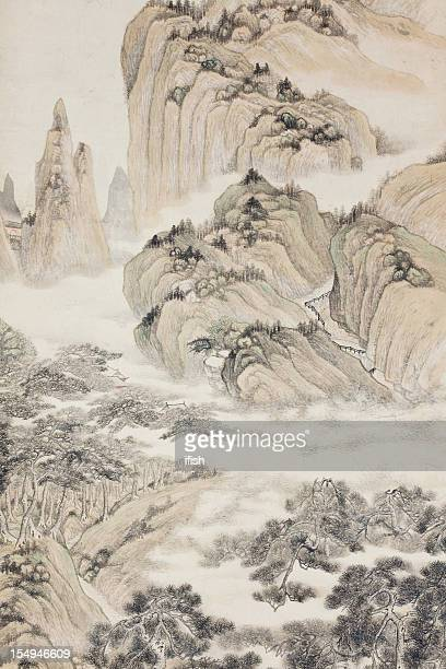 Chinese Landscape, Part of Antique Painting, Qing Dynasty