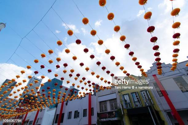 Chinese Lantern on the street in Chinatown in Singapore in the blue sky