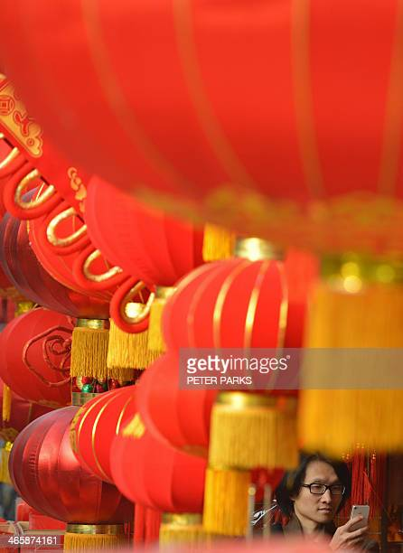 Chinese lanterns are seen on sale at a Chinese New Year street fair on the eve of the holiday in Shanghai on January 30 2014 China is preparing to...