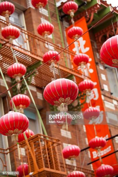 chinese lanterns, chinatown, san francisco, california, usa - san francisco chinatown stock photos and pictures