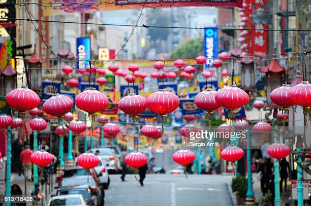 chinese lanterns in san francisco chinatown - chinatown stock pictures, royalty-free photos & images