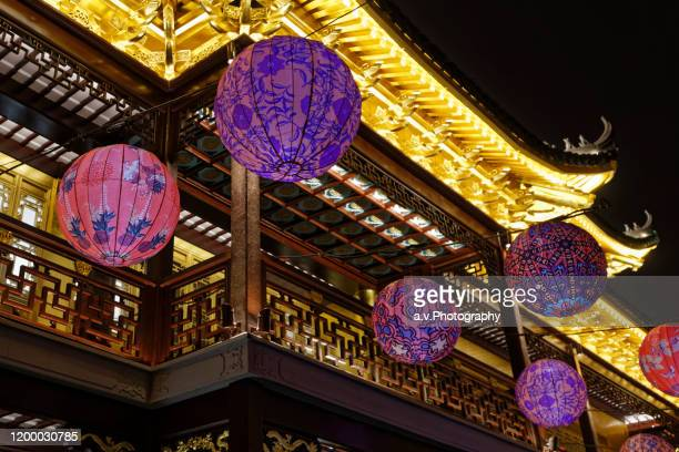 chinese lanterns. - andre vogelaere stock pictures, royalty-free photos & images