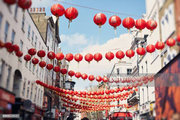 chinese lanterns - chinatown stock photos and pictures