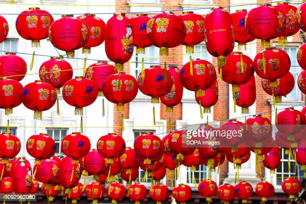 Chinese lanterns seen hanging during the preparations Londons China Town prepares for the Chinese New Year celebrations the Year of the Pig with new...