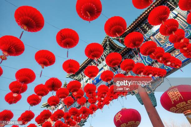 chinese lanterns - spring festival in beijing ditan park - chinese new year stock pictures, royalty-free photos & images