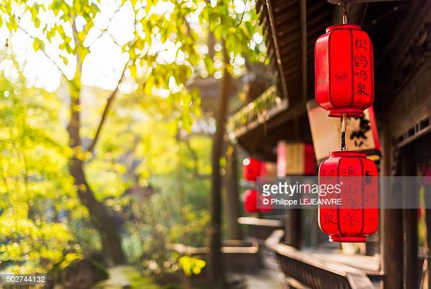 Chinese lanterns - wooden bridge