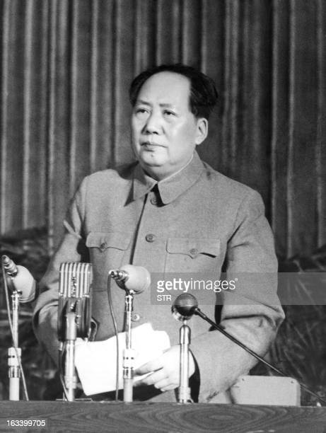 Chinese leader Mao Zedong during speach on The correct handling of contradictions among the People at the 11 Enlarged Meeting of the Supreme State...