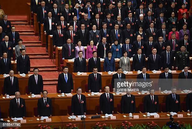 Chinese leaders second row from left Politburo Standing Committee member Wang Qishan Vice Premier Zhang Dejiang President Xi Jinping Premier Li...