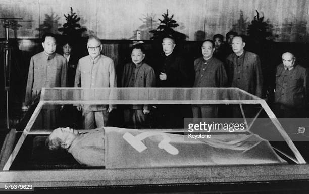 Chinese leaders viewing the body of Chairman Mao TseTung lying in state in Peking September 1976 Printed after the 1st anniversary of his death on...