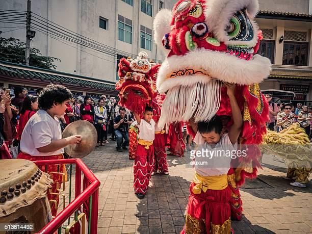 Chinese lion dance New Year Chinatown Bangkok Thailand