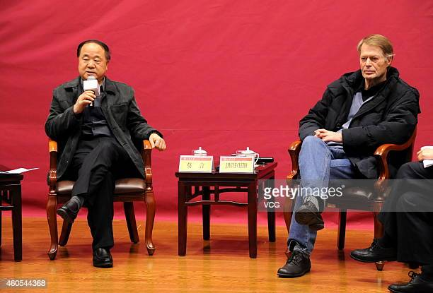 """Chinese Literature Nobel laureate Mo Yan and French Literature Nobel laureate Jean-Marie Gustave Le Clezio hold talks about """"Literature and Life"""" at..."""