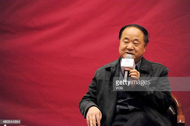 Chinese Literature Nobel laureate Mo Yan talks about Literature and Life at Shandong University on December 16 2014 in Jinan Shandong province of...