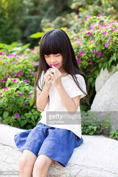 chinese little girl and morning glory - blue skirt stock pictures, royalty-free photos & images