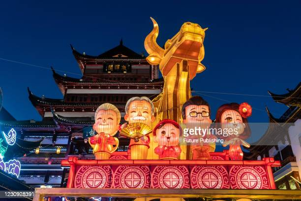Chinese lunar New Year Folk Art Lantern Festival of the Year of the Ox is held at Yuyuan Mall in Shanghai, China, Feb 2, 2021.- PHOTOGRAPH BY...