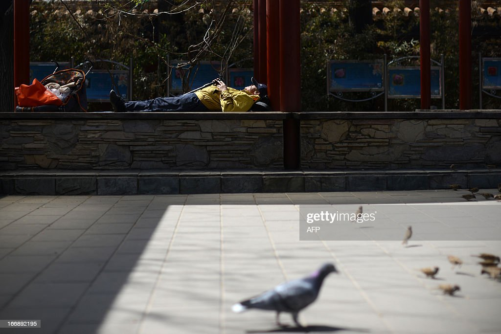 A Chinese man rests on a bench at a park in Beijing on April 18, 2013. The historic 700 year old park includes a 45 metre man-made hill which was built to provide a favourable Feng Shui environment for the nearby Forbidden City.