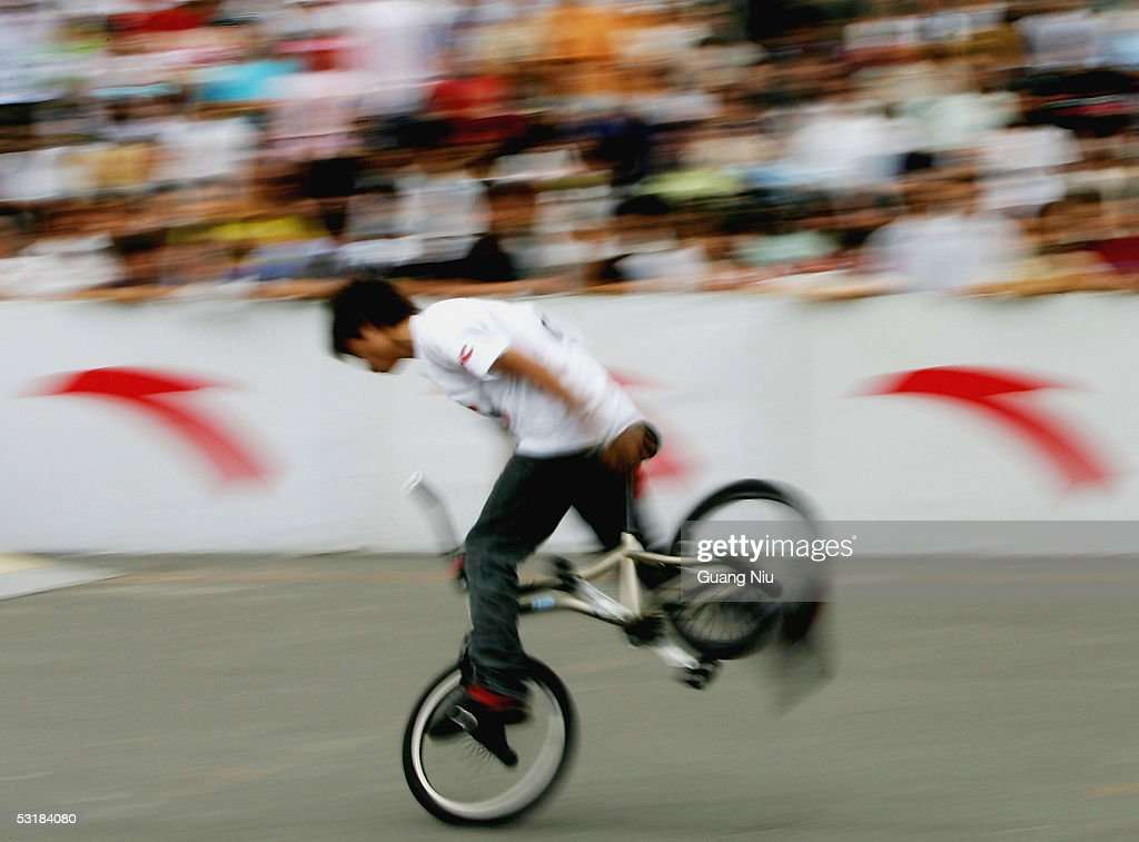 A Chinese man takes part in the Extreme Sports Games on July 2, 2005 in Beijing, China. Local authorities are gearing up to promote sporting activities in the city as the 2008 Beijing Olympics is approaching.