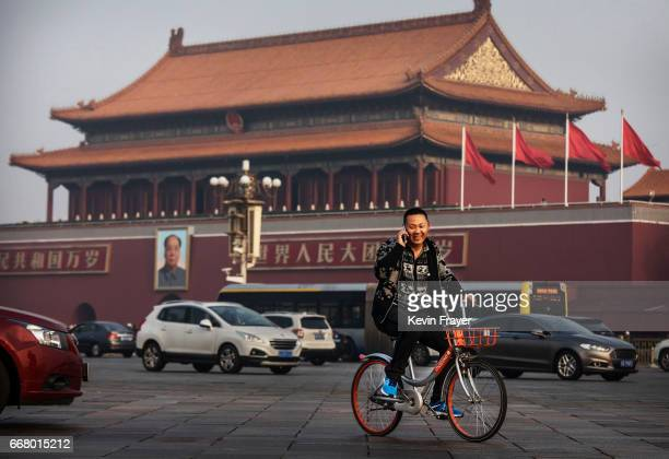 Chinese man talks on his phone as he rides a bike share through Tiananmen Square on March 29 2017 in Beijing China The popularity of bike shares has...