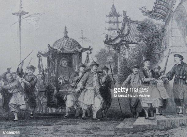 Chinese Manadarin on a visit to a ranking official 1850