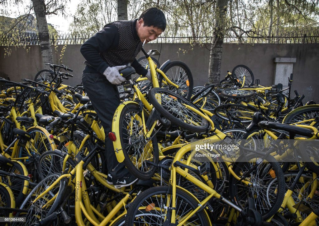 A Chinese mechanic from the bike share company Ofo Inc. chooses a bike to repair as he stands on a pile of bicycles after they were collected from the streets at a repair depot for the company on March 30, 2017 in Beijing, China. The popularity of bike shares has exploded in the past year with more than two dozen providers now battling for market share in major cities across China. The bikes are hailed as an efficient, cheap, and environmentally-friendly solution for commuters, where riders unlock the stationless bicycles using a mobile phone app, drop them anywhere for the next user, and spend as little as 1 yuan ($0.15) per hour. Given the bikes have several users a day - some of them inexperienced riders who swerve into traffic - they are often damaged, vandalized, or abandoned. Companies like Ofo routinely collect the battered two-wheelers and bring them to a makeshift depot that is part repair shop, part graveyard where they are either salvaged or scrapped. The bike shares are powering a cycling revival of sorts in a country once known as the 'Kingdom of Bicycles'. In the early years of Communist China, most Chinese aspired to own a bicycle as a marker of achievement. When the country's economic transformation made cars a more valued status symbol, the bicycle - a Chinese cultural icon - was mocked as a sign of backwardness. The bike share craze is also a boon for manufacturers who are now mass producing over a million bikes a month to meet demand, and the number of shared bike users will reach 50 million in China by the end of the year, according to Beijing-based BigData Research. Not everyone is cheering the revival though, as municipal officials are drafting new regulations to control the chaotic flood of bicycles on streets and sidewalks.