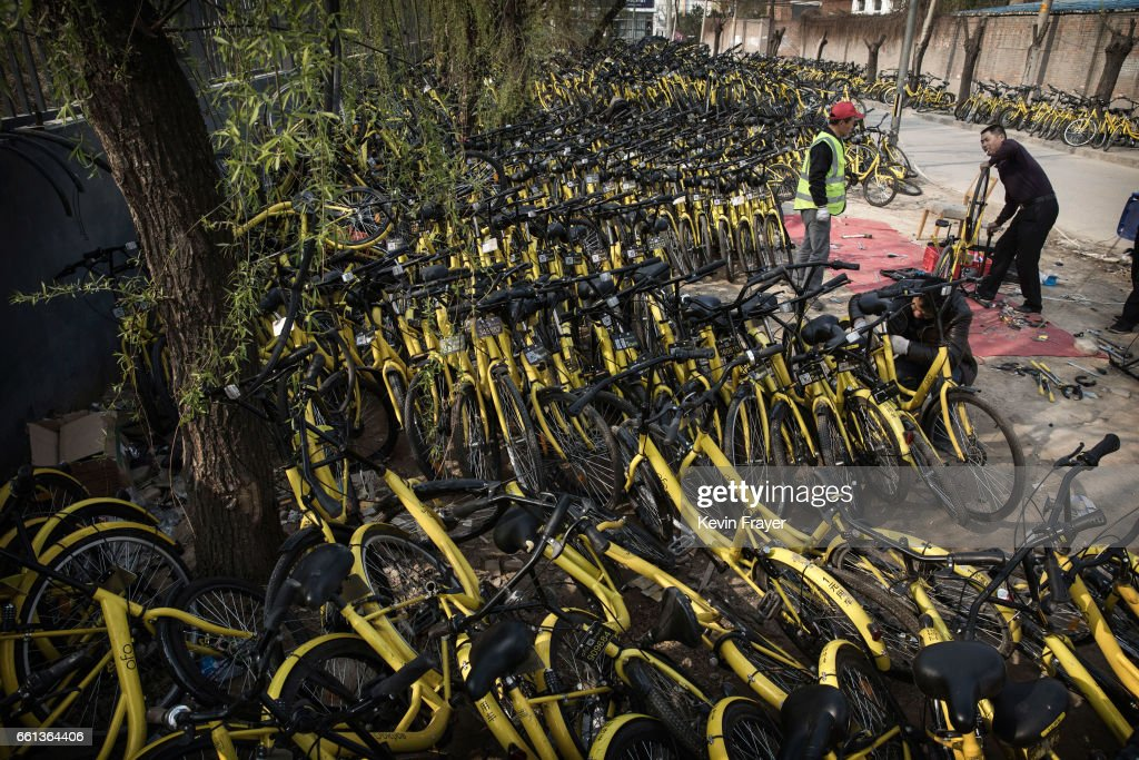 Chinese mechanics from the bike share company Ofo Inc. work on bicycles after they were collected from the streets at a repair depot for the company on March 30, 2017 in Beijing, China. The popularity of bike shares has exploded in the past year with more than two dozen providers now battling for market share in major cities across China. The bikes are hailed as an efficient, cheap, and environmentally-friendly solution for commuters, where riders unlock the stationless bicycles using a mobile phone app, drop them anywhere for the next user, and spend as little as 1 yuan ($0.15) per hour. Given the bikes have several users a day - some of them inexperienced riders who swerve into traffic - they are often damaged, vandalized, or abandoned. Companies like Ofo routinely collect the battered two-wheelers and bring them to a makeshift depot that is part repair shop, part graveyard where they are either salvaged or scrapped. The bike shares are powering a cycling revival of sorts in a country once known as the 'Kingdom of Bicycles'. In the early years of Communist China, most Chinese aspired to own a bicycle as a marker of achievement. When the country's economic transformation made cars a more valued status symbol, the bicycle - a Chinese cultural icon - was mocked as a sign of backwardness. The bike share craze is also a boon for manufacturers who are now mass producing over a million bikes a month to meet demand, and the number of shared bike users will reach 50 million in China by the end of the year, according to Beijing-based BigData Research. Not everyone is cheering the revival though, as municipal officials are drafting new regulations to control the chaotic flood of bicycles on streets and sidewalks.