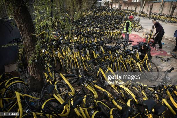 Chinese mechanics from the bike share company Ofo Inc work on bicycles after they were collected from the streets at a repair depot for the company...