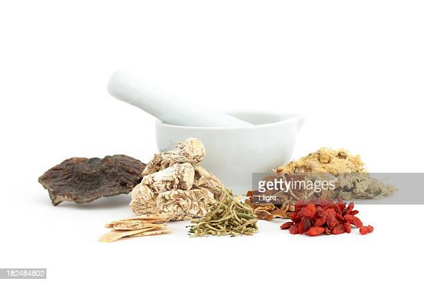 Chinese medical herbs and mortar