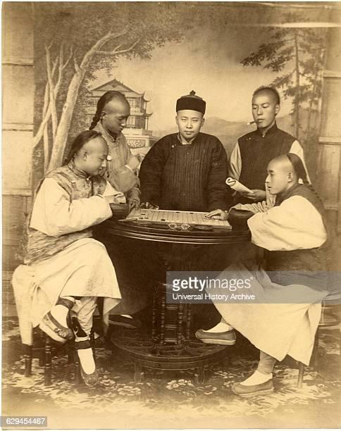 Chinese Men Playing Board Game Shanghai China Albumen Print circa 1880