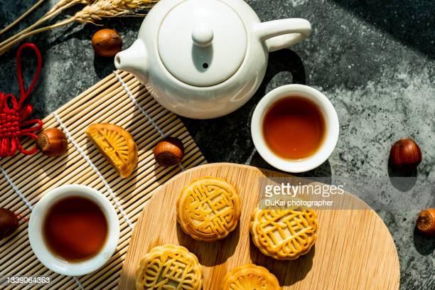 chinese mid-autumn festival food  mooncake - 中国北東部 ストックフォトと画像