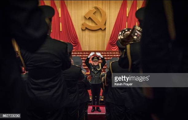 Chinese military band plays after the speech of Chinese President Xi Jinping at the opening session of the 19th Communist Party Congress held at The...