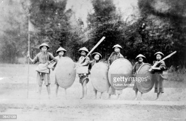 Chinese militia from upcountry armed with clubs and wicker shields during the Second Chinese Opium War