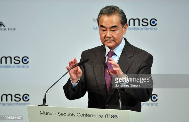 Chinese minister of foreign affairs Wang Yi speaks at the 2020 Munich Security Conference on February 15 2020 in Munich Germany The annual conference...
