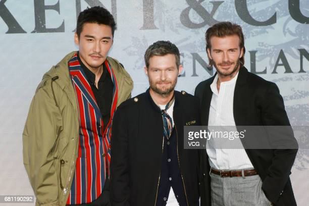 Chinese model and actor Hu Bing Kent Curwen Creative Director Daniel Kearns and English former professional footballer David Beckham attend Kent...