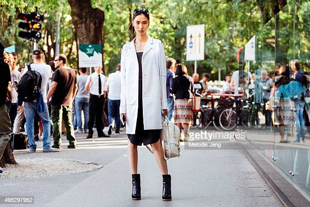 Chinese model Dylan Xue exits the Jil Sander show during the Milan Fashion Week Spring/Summer 16 on September 26 2015 in Milan Italy Dylan wears a...