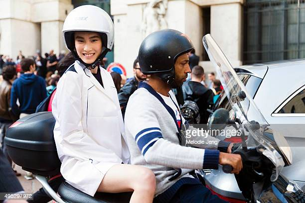 Chinese model Dylan Xue exits the Salvatore Ferragamo show by motorbike during the Milan Fashion Week Spring/Summer 16 on September 27 2015 in Milan...