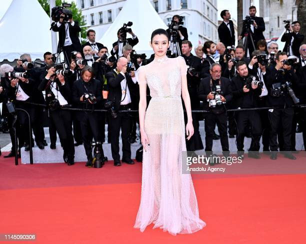 Chinese model Ming Xi arrives for the screening of the film 'A Hidden Life' at the 72nd annual Cannes Film Festival in Cannes France on May 19 2019