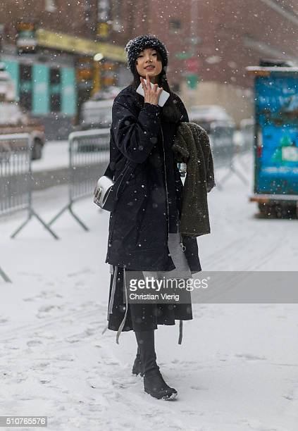 Chinese model Xiao Wen Ju seen outside Phillip Lim during New York Fashion Week Women's Fall/Winter 2016 on February 15 2016 in New York City